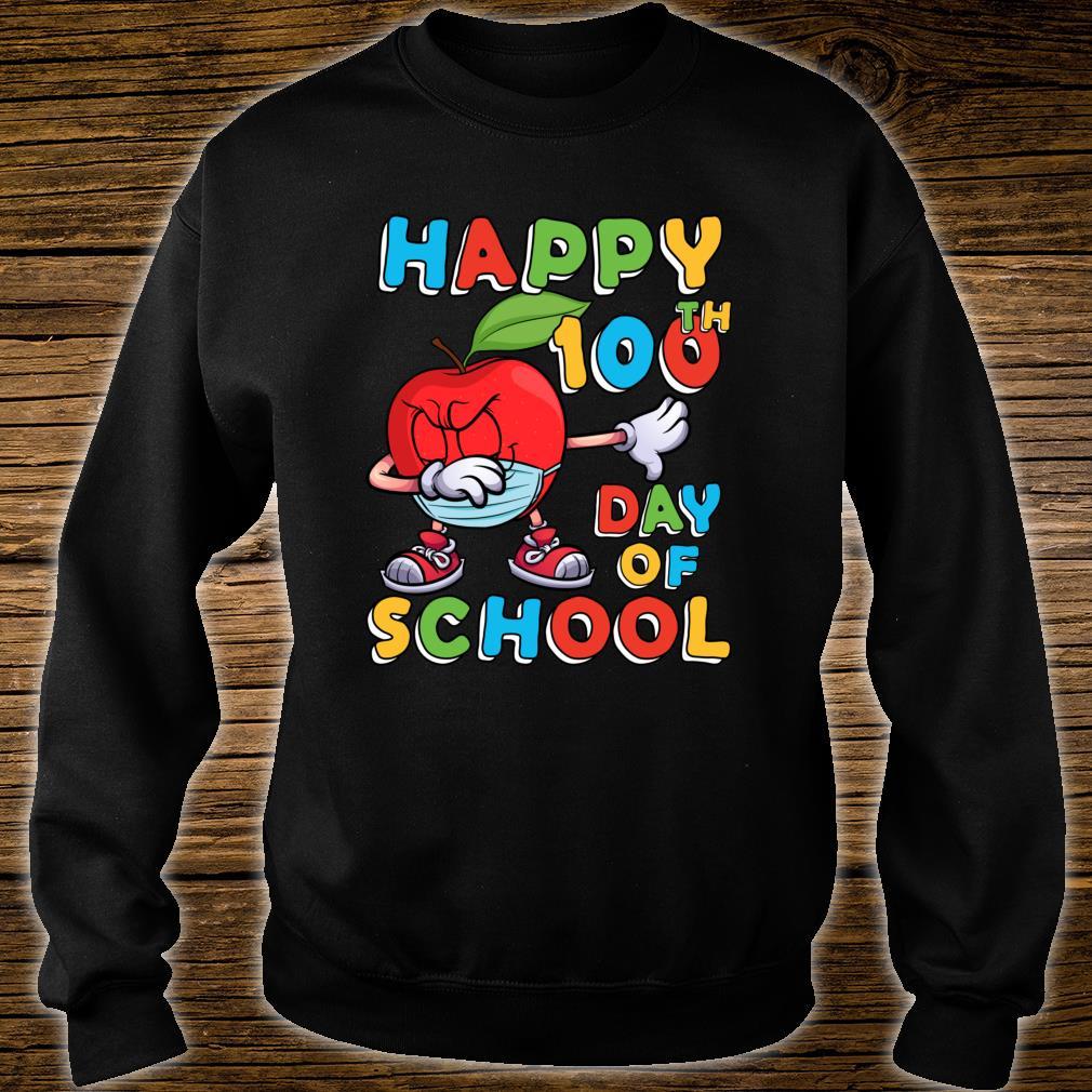 Happy 100th Day of School Dabbing Apple Wearing Mask Shirt sweater