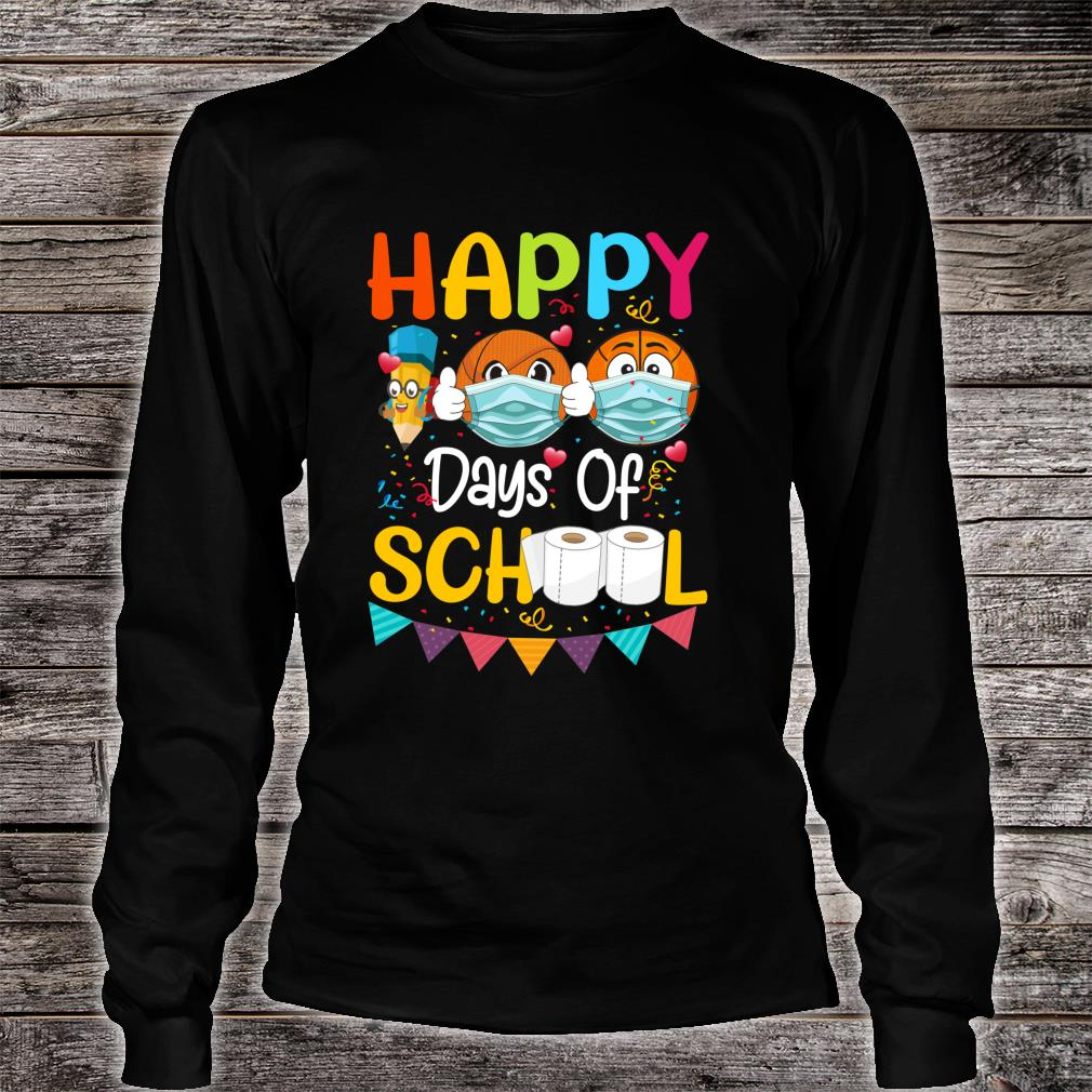 Happy 100th Day of School for Love Basketball Shirt long sleeved