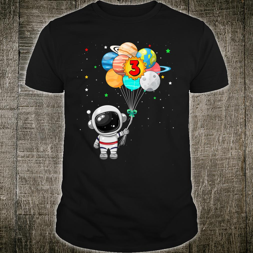 Happy 3rd Birthday Astronaut 3 Years Old Birthday Shirt