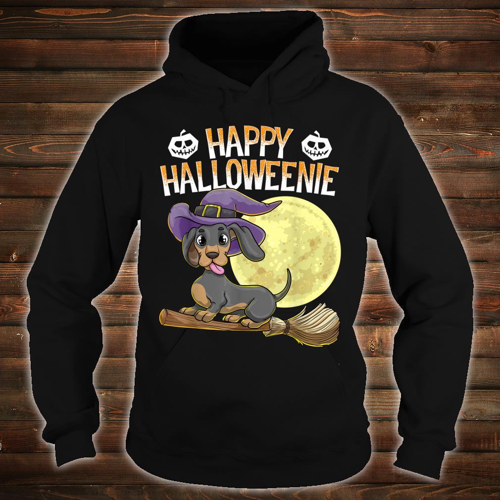 Happy Halloweenie Dackel Hund HalloweenHexe Wiener Besen Shirt hoodie