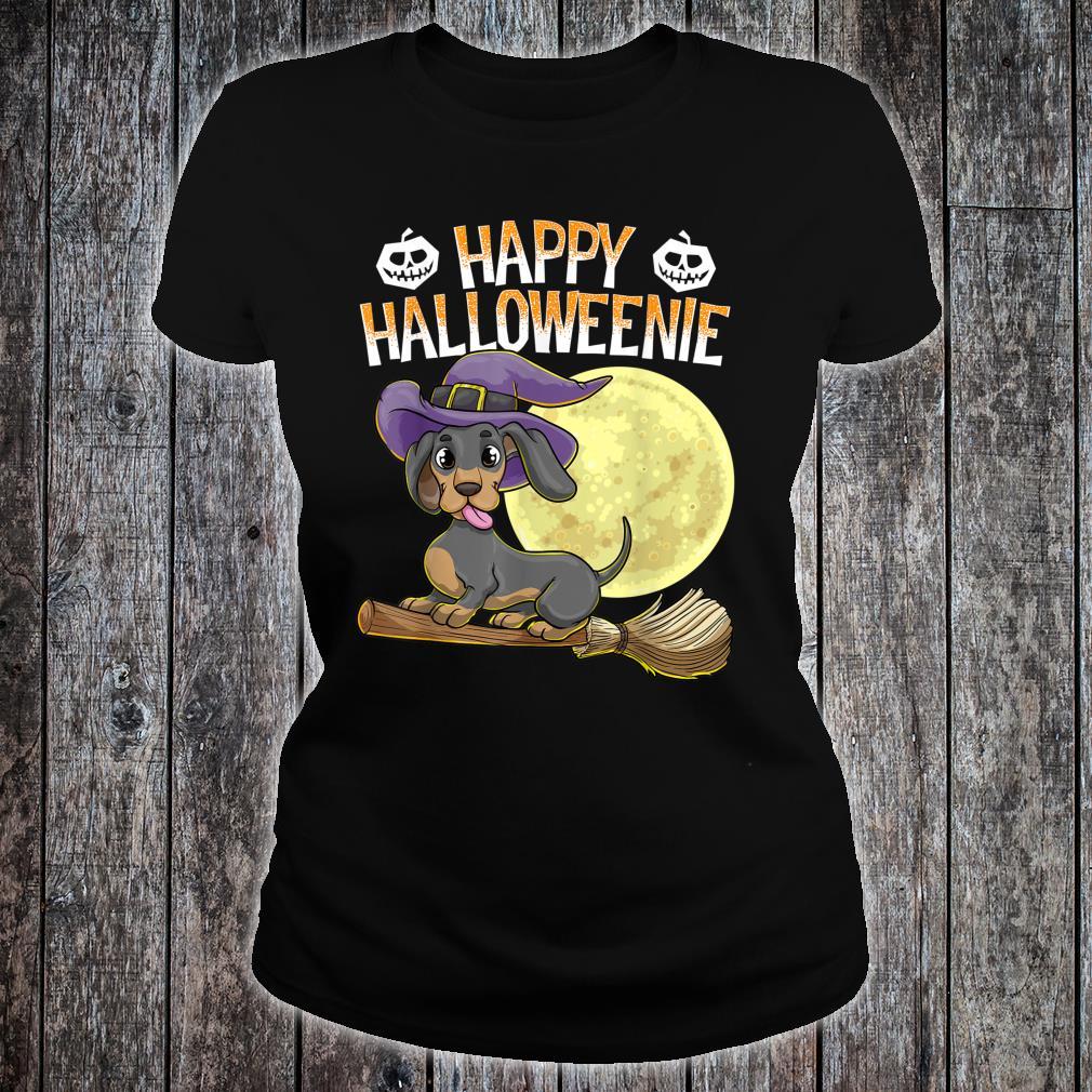 Happy Halloweenie Dackel Hund HalloweenHexe Wiener Besen Shirt ladies tee