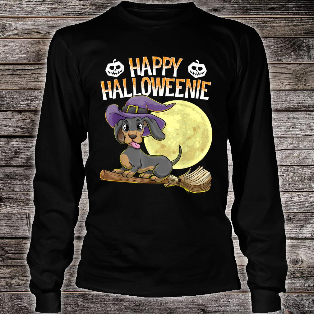 Happy Halloweenie Dackel Hund HalloweenHexe Wiener Besen Shirt long sleeved