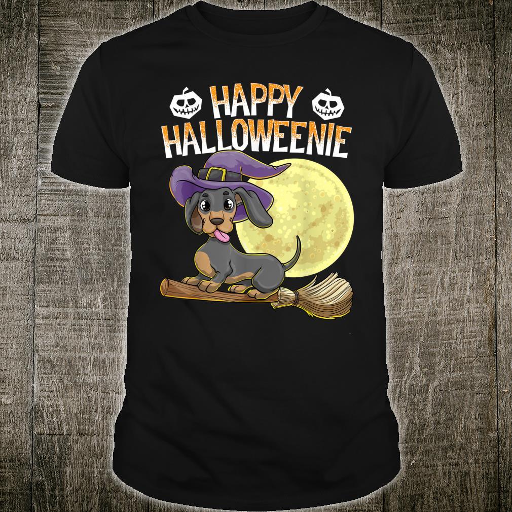 Happy Halloweenie Dackel Hund HalloweenHexe Wiener Besen Shirt