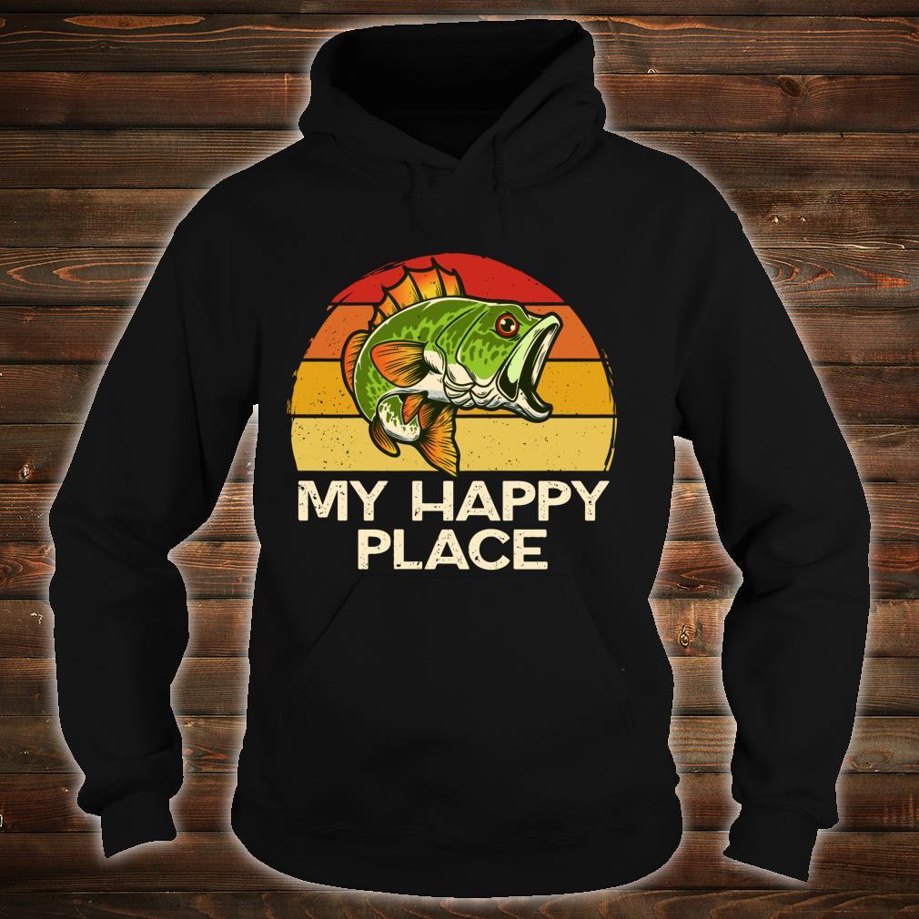 Happy Place Fishing Vintage Bass Fishing Dad Shirt hoodie