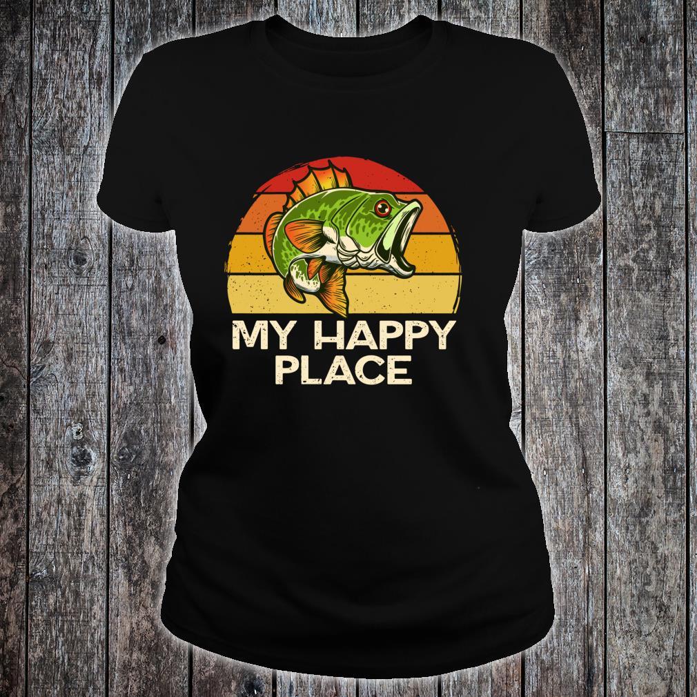 Happy Place Fishing Vintage Bass Fishing Dad Shirt ladies tee