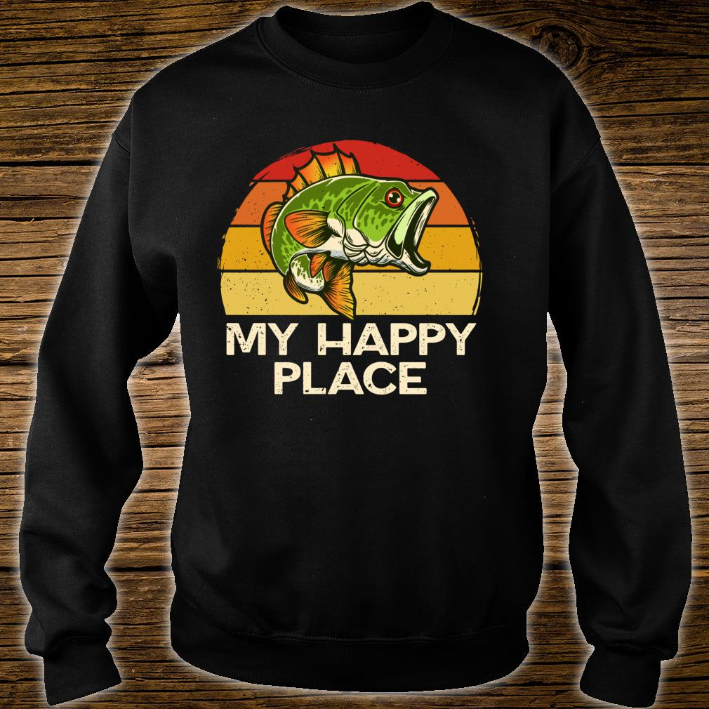 Happy Place Fishing Vintage Bass Fishing Dad Shirt sweater