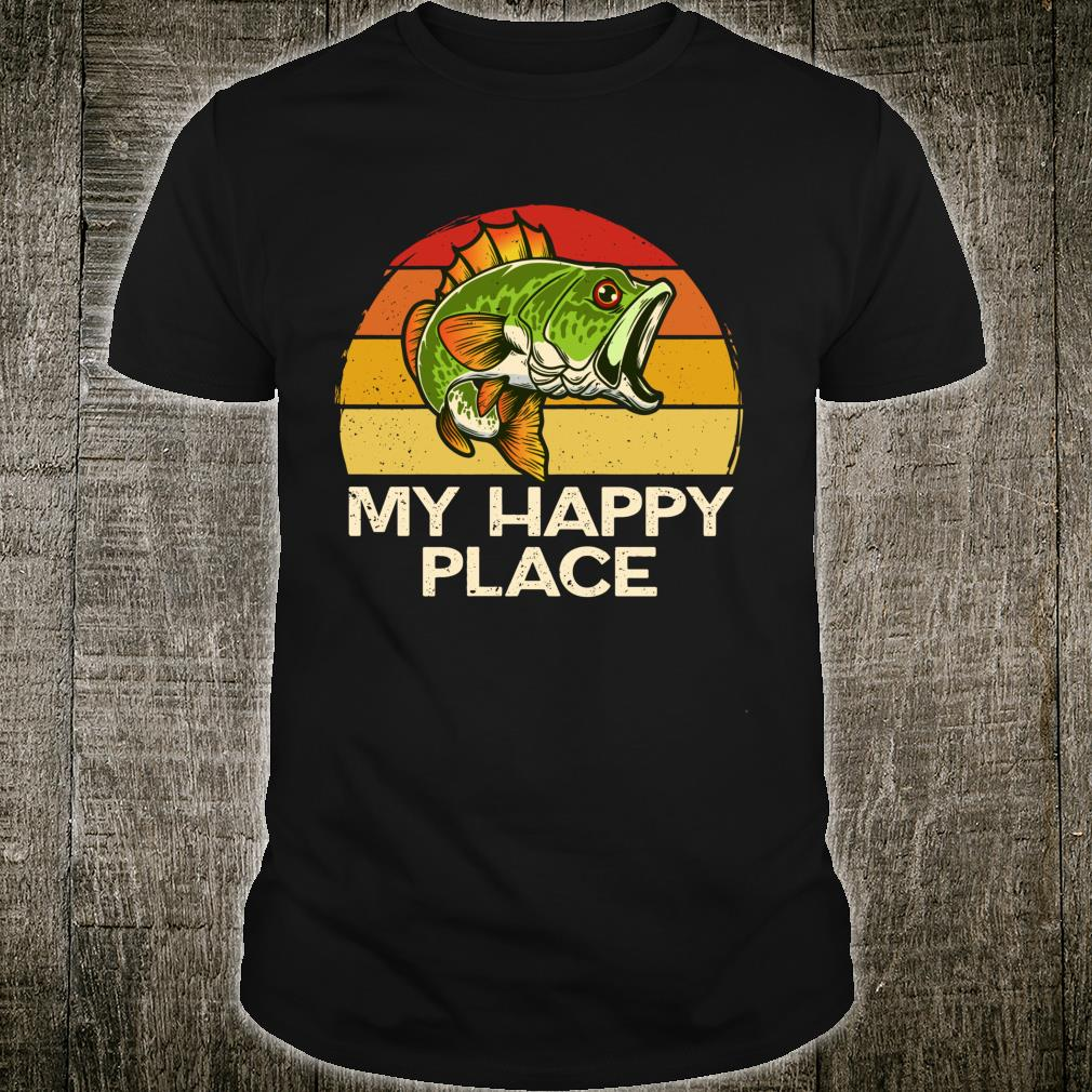 Happy Place Fishing Vintage Bass Fishing Dad Shirt