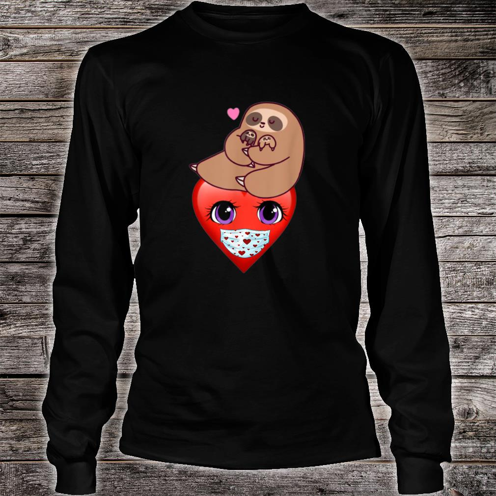 Happy Valentines Day 2021 Sloth with Heart Face Mask Shirt long sleeved