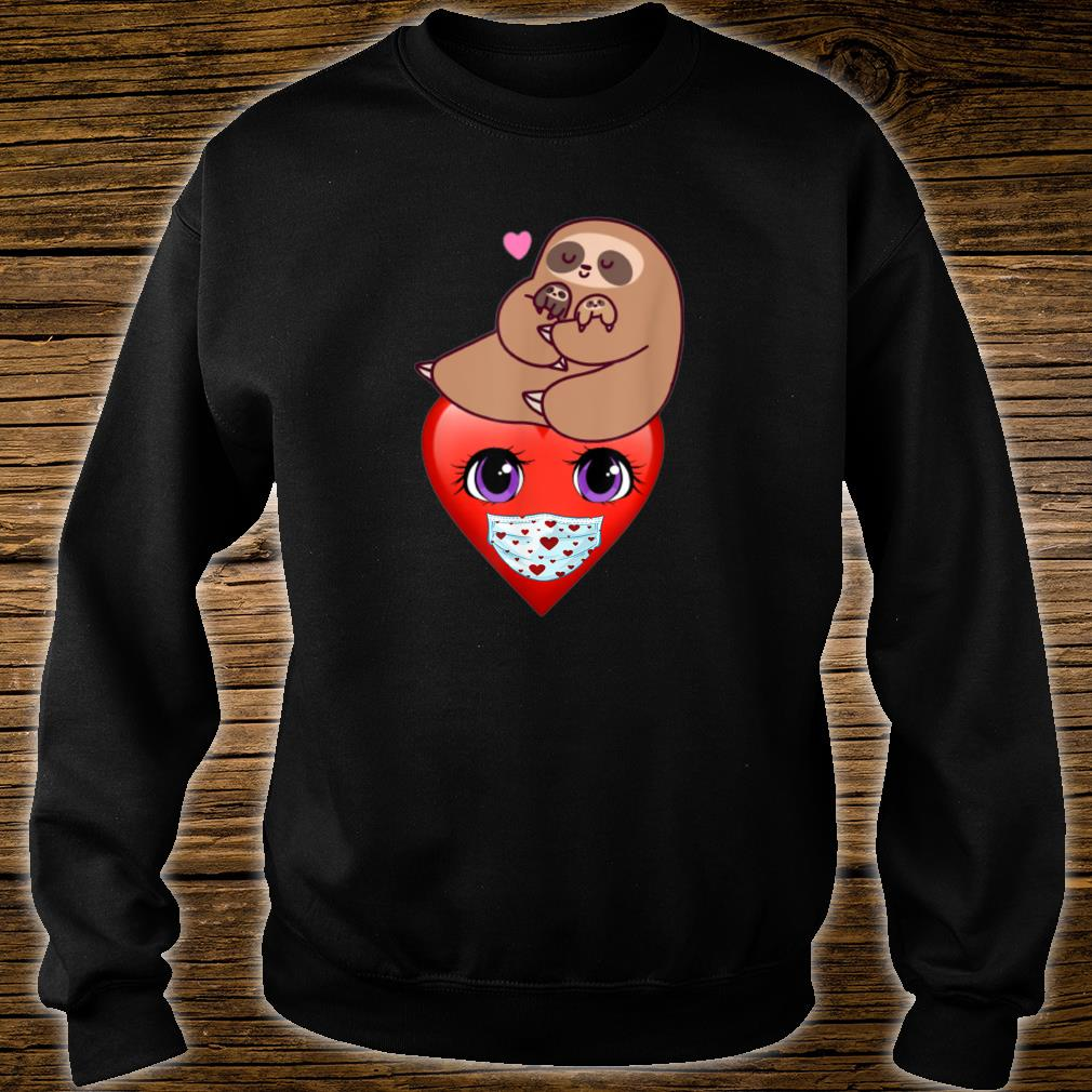 Happy Valentines Day 2021 Sloth with Heart Face Mask Shirt sweater