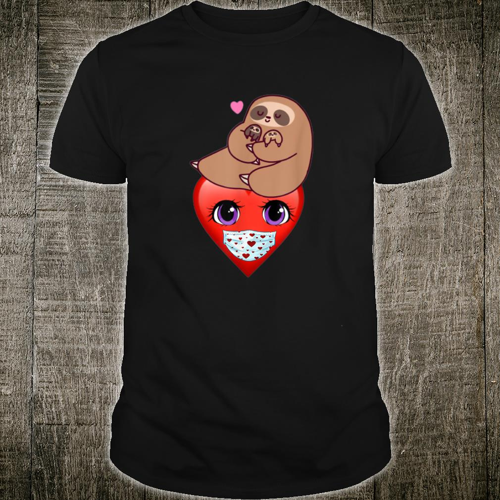 Happy Valentines Day 2021 Sloth with Heart Face Mask Shirt
