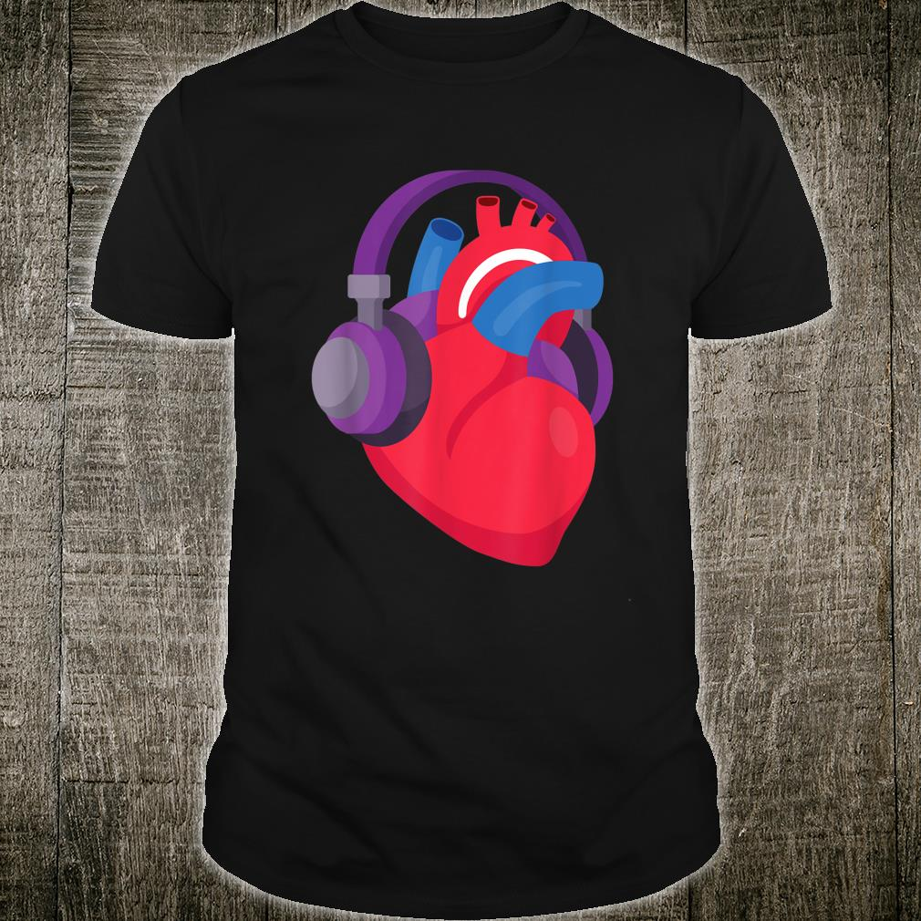 Heart With Headphones For Musical Doctors Nurses & Students Shirt