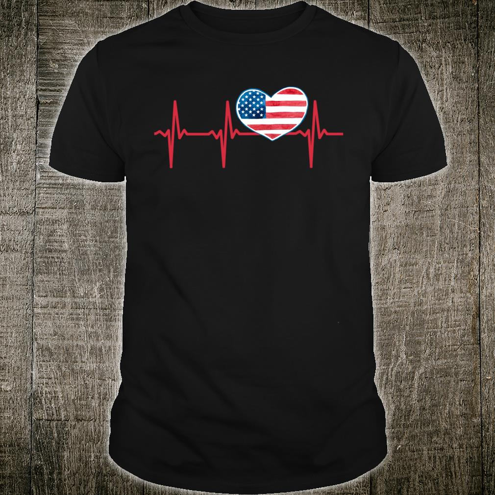 Heartbeat EKG America Heart Love Patriotic 4th of July Shirt