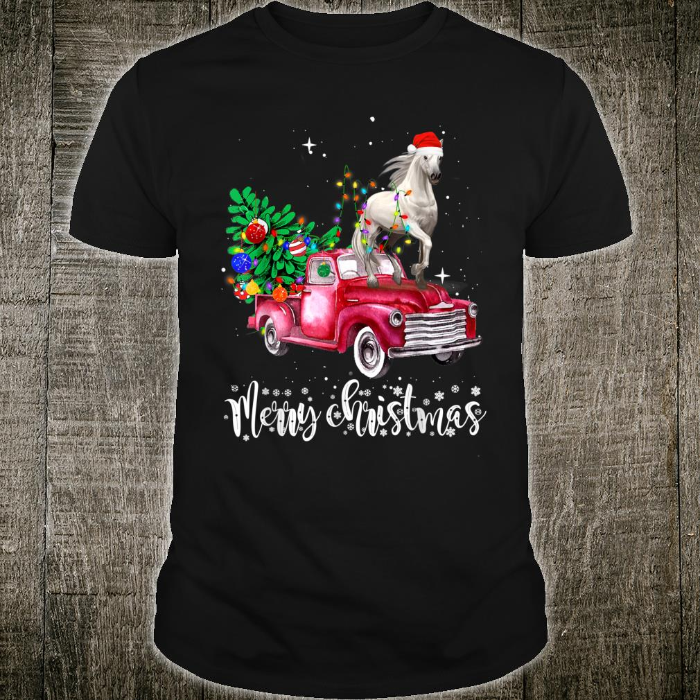 Horse Riding Red Truck Xmas Merry Christmas Shirt