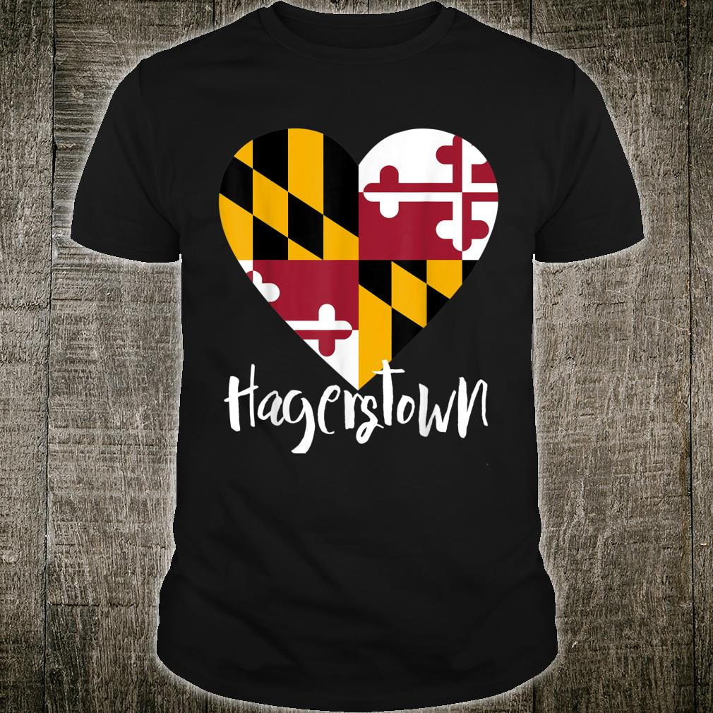 I Love Hagerstown Maryland MD Flag Heart Souvenir Shirt