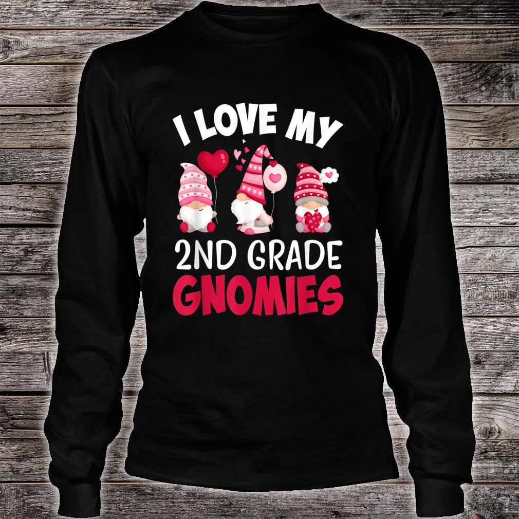 I Love My 2nd Grade Gnomies Cute Valentines Day Teacher Shirt long sleeved