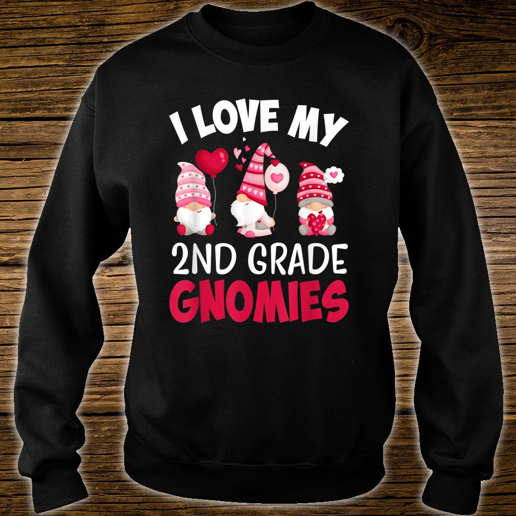 I Love My 2nd Grade Gnomies Cute Valentines Day Teacher Shirt sweater