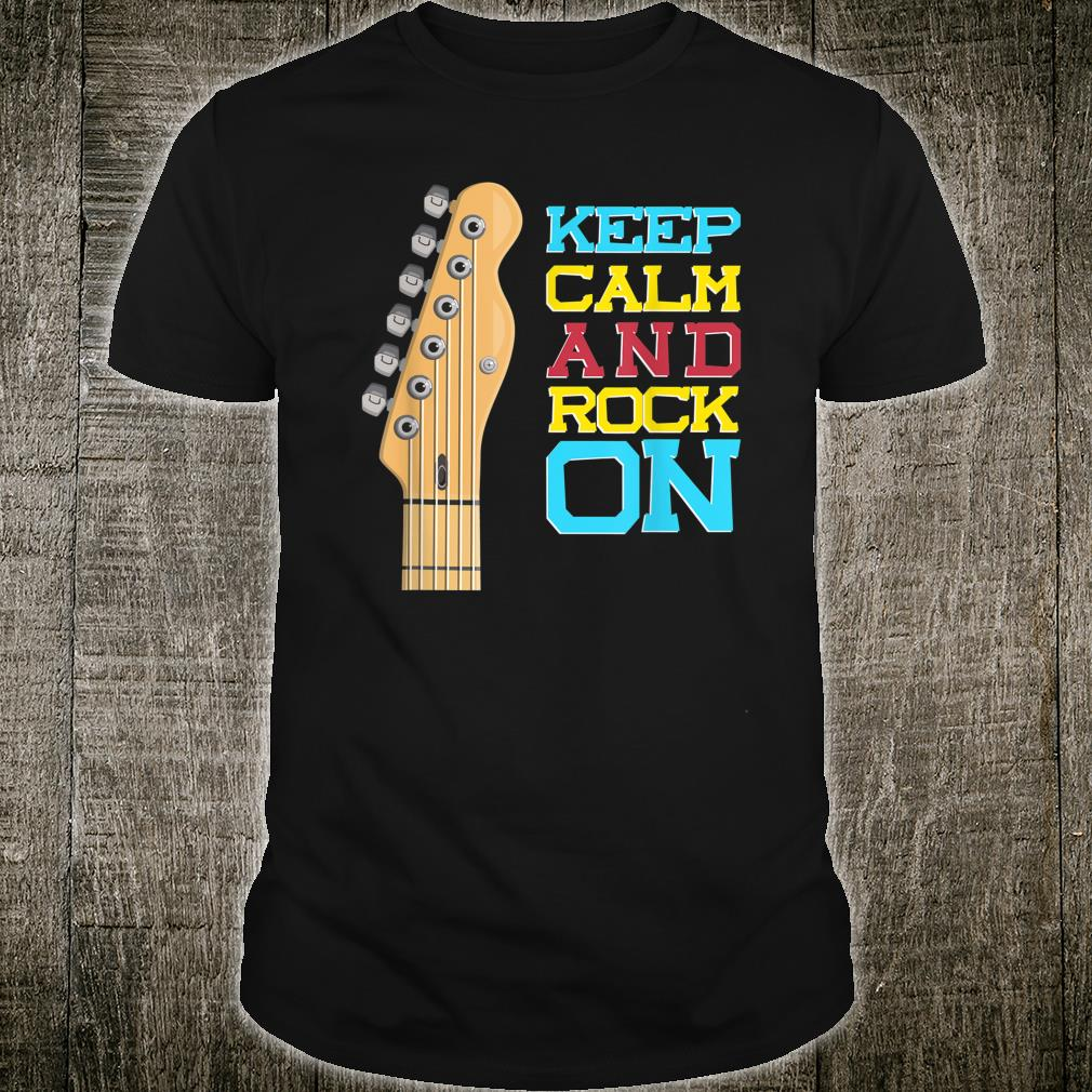 Keep Calm and Rock On Vintage Retro Guitar Quote Shirt