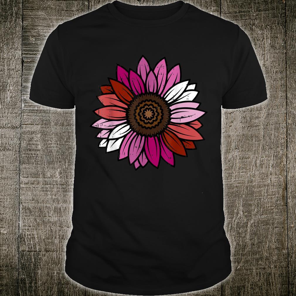 Lesbian Sunflower Pride Flag LGBTQ Cool LGBT Ally Shirt