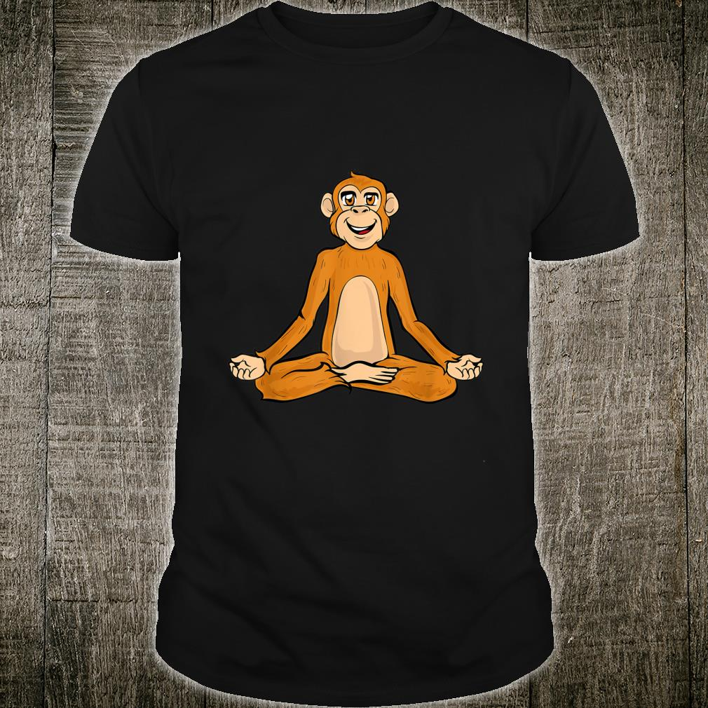 Lustige Yoga Affe Affen Namaste Meditieren Zen Shirt
