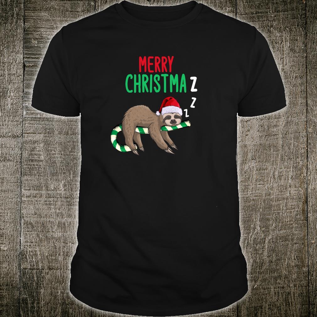 Merry Christmaz Faultier Weihnachten Schläft Zuckerstange Shirt