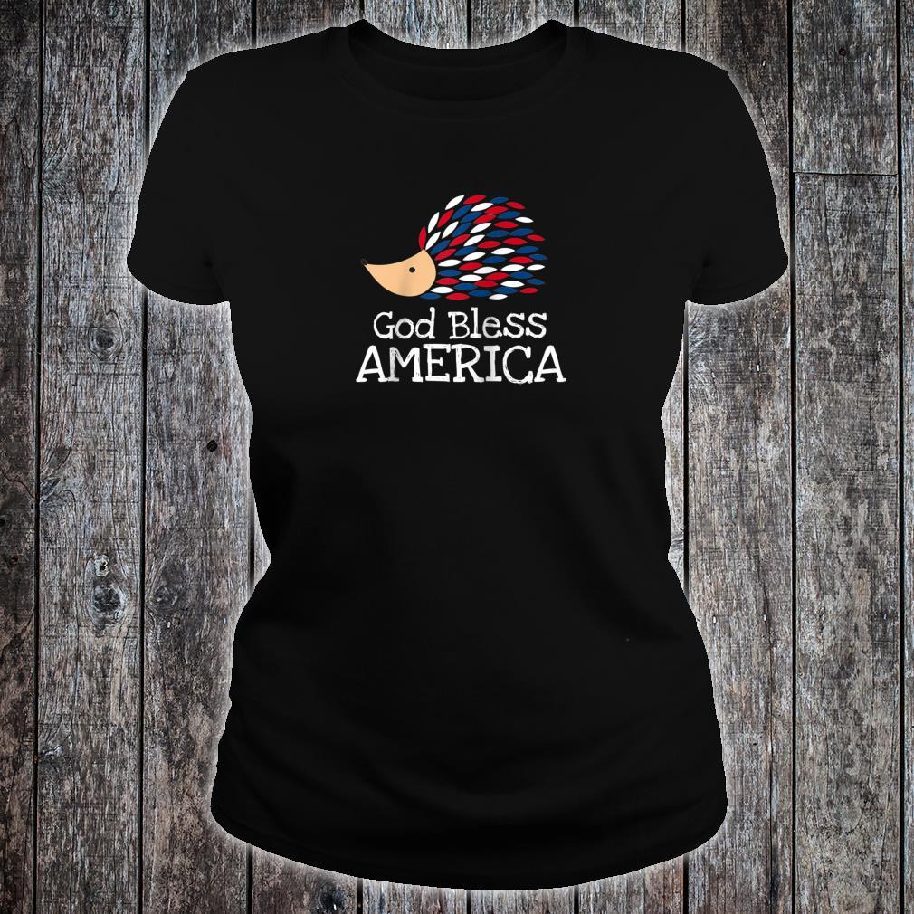 Patriotic Hedgehog Bless America Shirt ladies tee