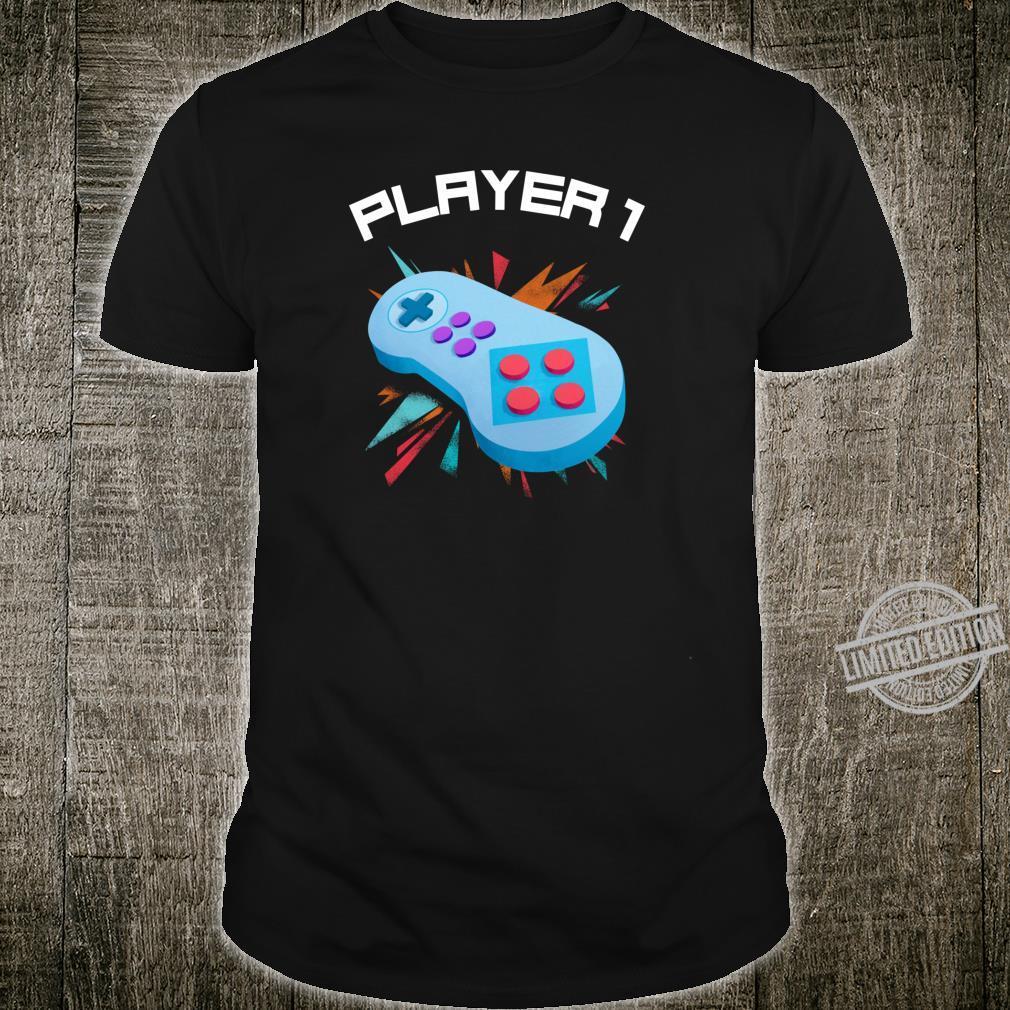 Player 1 Videospiele Gamer Vater Und Sohn Partnerlook Shirt