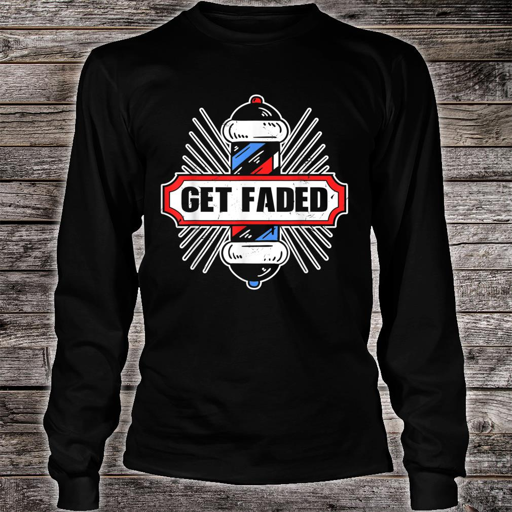 Vintage Look Get Faded Barber Distressed Look Shirt long sleeved